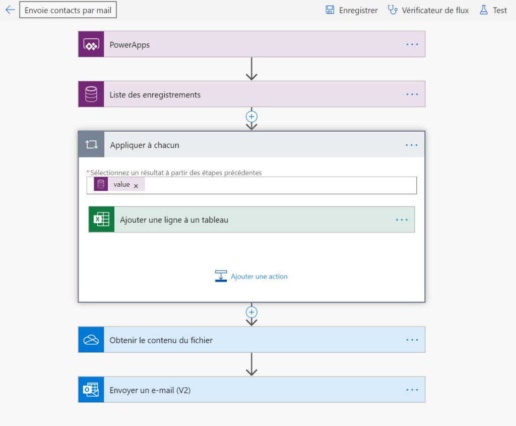 Processus Power Automate exécuté par Power Apps